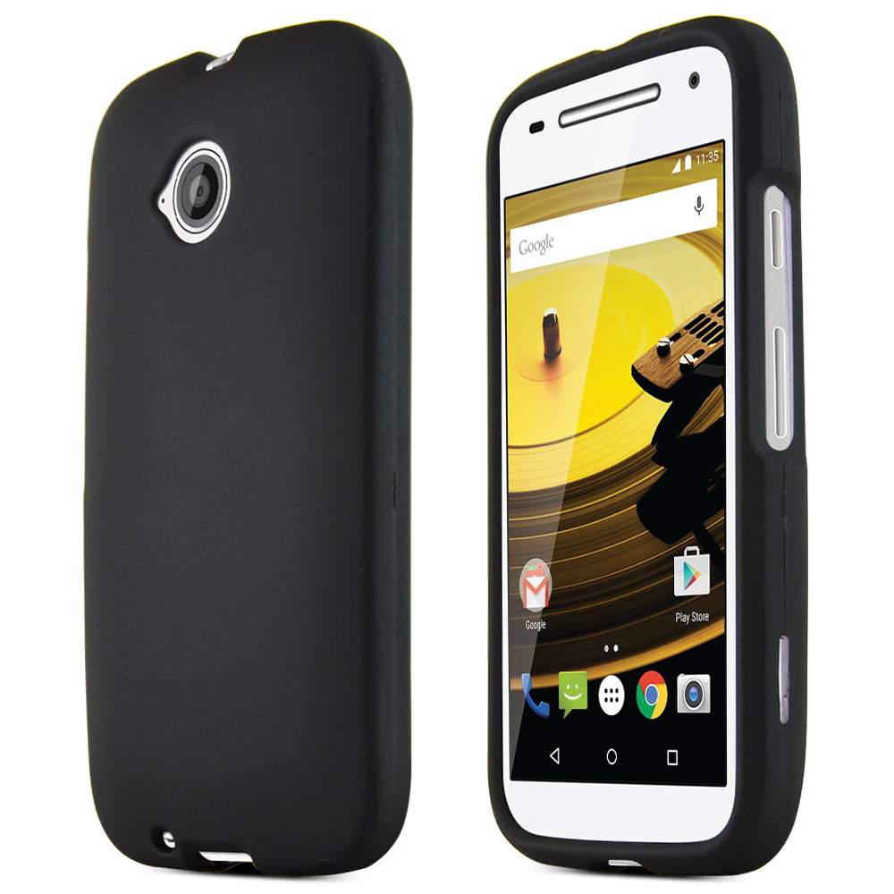Moto E 2nd Gen Case, [Black] Slim Grip Rubberized Hard Plastic Case for Motorola Moto E 2nd Gen