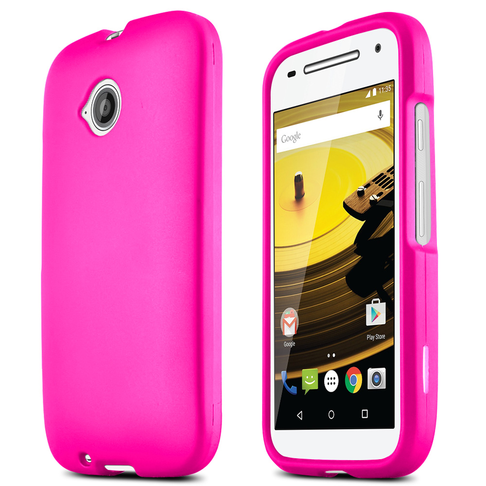 Moto E 2nd Gen Case, [Hot Pink] Slim Grip Rubberized Hard Plastic Case for Motorola Moto E 2nd Gen