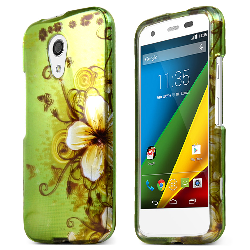 Motorola Moto G 2014 Protective Rubberized Hard Case - Anti-slip Matte Rubber Material [white Hawaiian Flowers On Green]