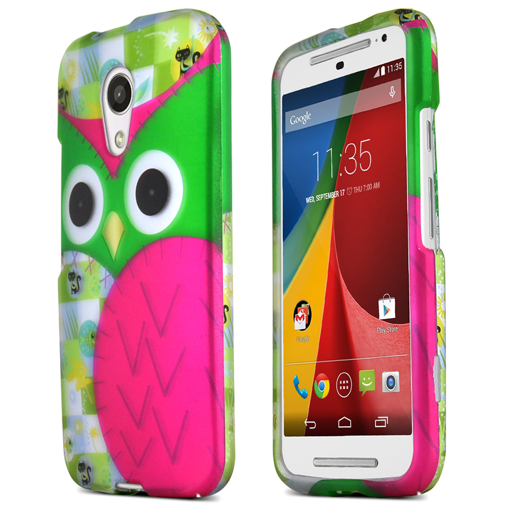 Motorola Moto G 2014 Protective Rubberized Hard Case - Anti-slip Matte Rubber Material [hot Pink / Green Owl]