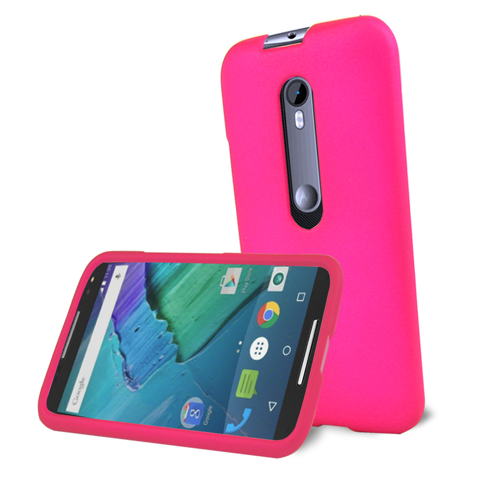 Motorola Moto G 2015 Case, [Hot Pink] Slim & Protective Rubberized Matte Hard Plastic Case