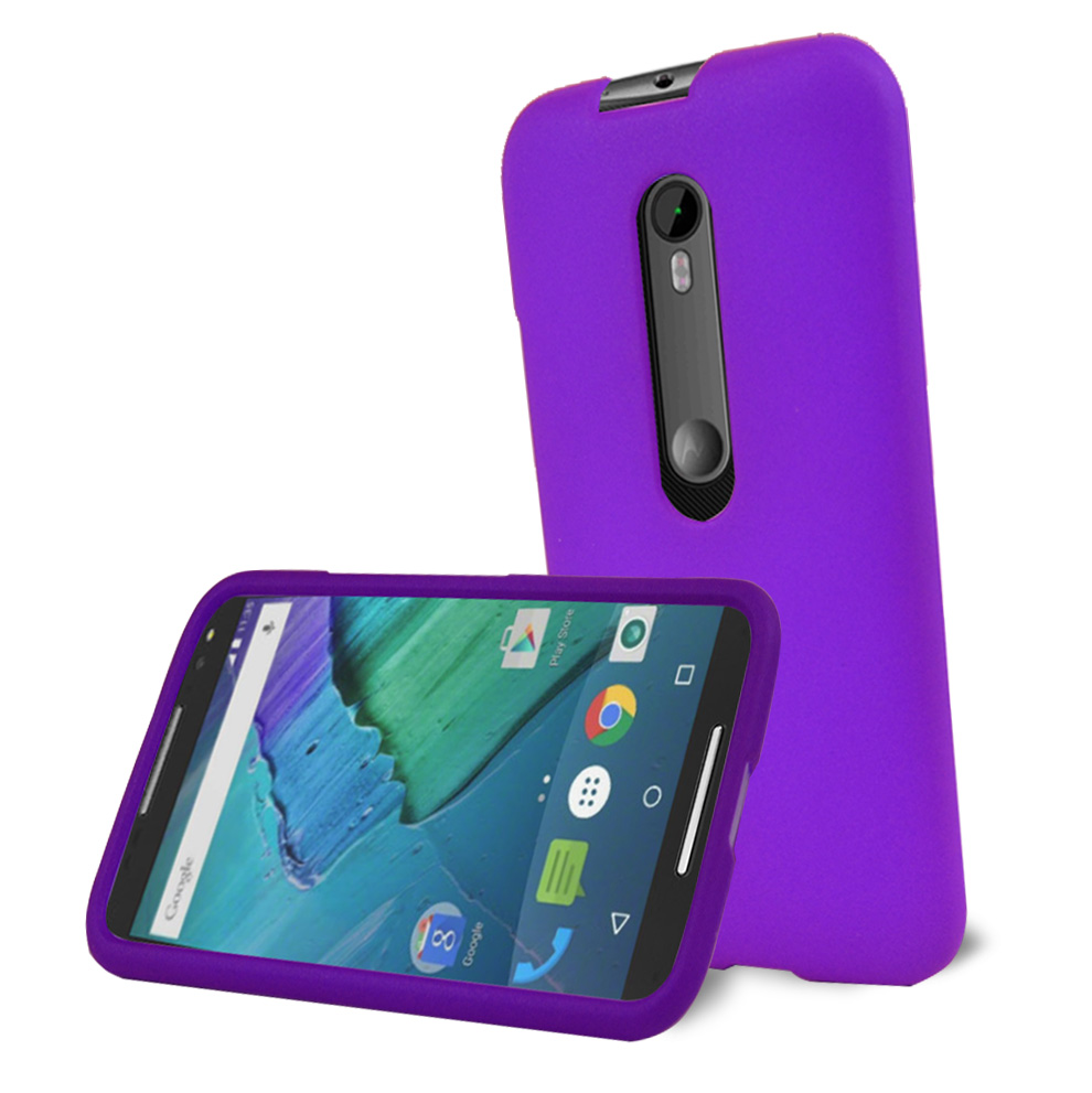 Motorola Moto G 2015 Case, [Purple] Slim & Protective Rubberized Matte Hard Plastic Case
