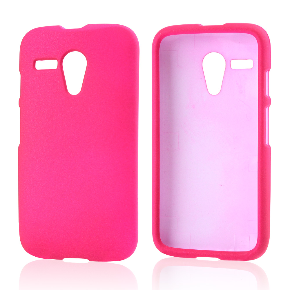 Hot Pink Rubberized Hard Case for Motorola Moto G