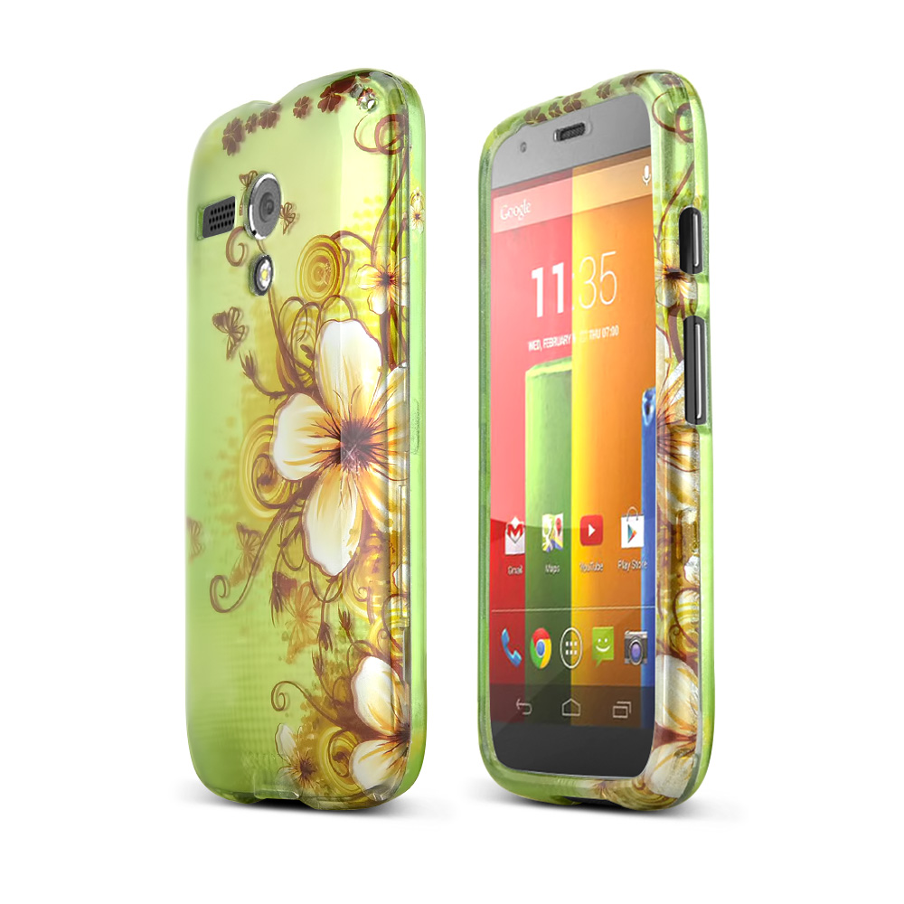 White Hawaiian Flowers on Green Rubberized Hard Case for Motorola Moto G