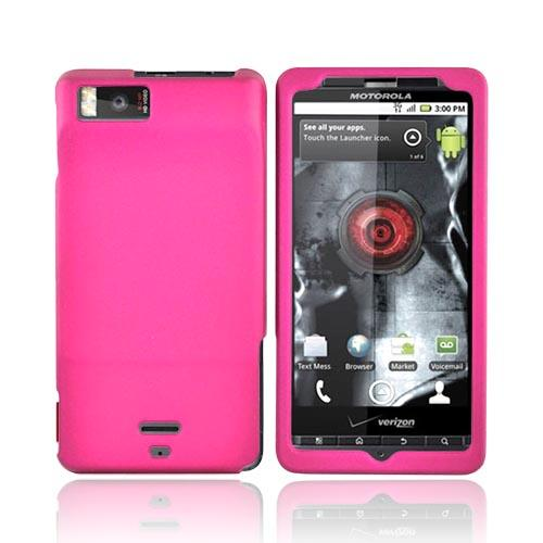 Motorola Droid X MB810 Rubberized Hard Case - Rose Pink
