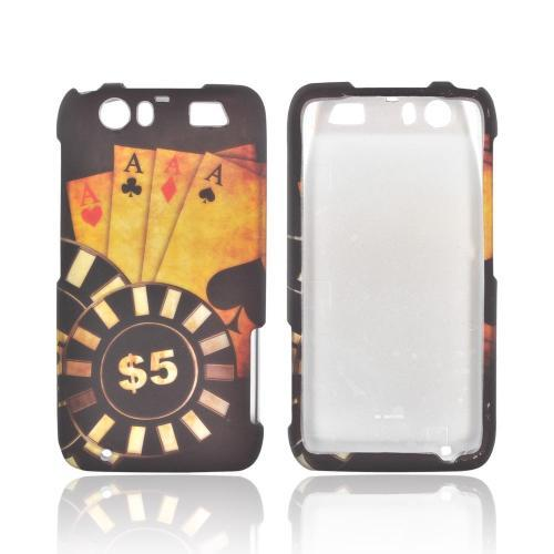 Motorola Atrix HD Rubberized Hard Case - Black/ Gold Aces Poker