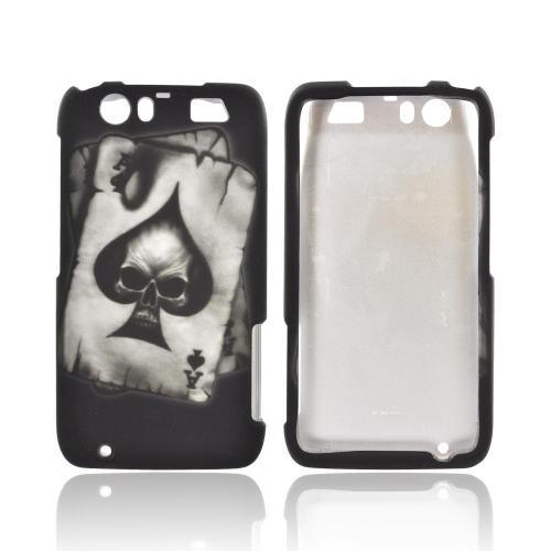Motorola Atrix HD Rubberized Hard Case - Ace Skull on Black