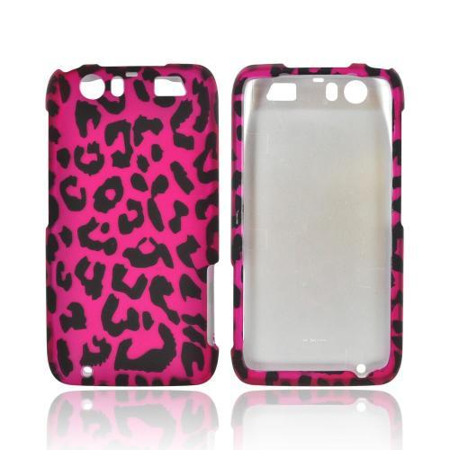 Motorola Atrix HD Rubberized Hard Case - Hot Pink/ Black Leopard