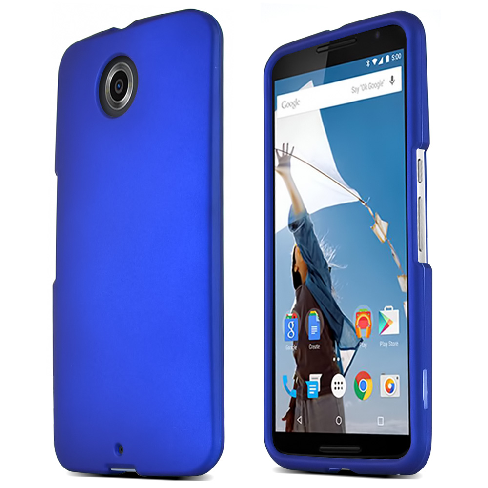 Motorola Nexus 6 Protective Rubberized Hard Case - Anti-Slip Matte Rubber Material [Slim and Perfect Fitting Motorola Nexus 6 (2014) Case] [Blue]