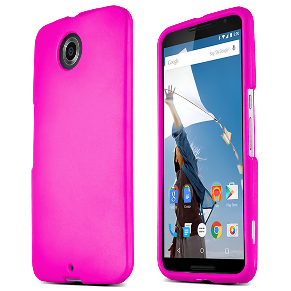 Motorola Nexus 6 Protective Rubberized Hard Case - Anti-Slip Matte Rubber Material [Slim and Perfect Fitting Motorola Nexus 6 (2014) Case] [Hot Pink]