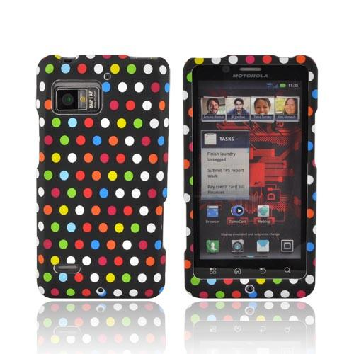 Motorola Droid Bionic XT875 Rubberized Hard Case - Rainbow Polka Dots on Black