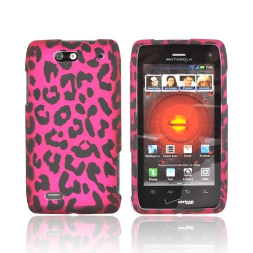Motorola Droid 4 Rubberized Hard Case - Hot Pink/ Black Leopard