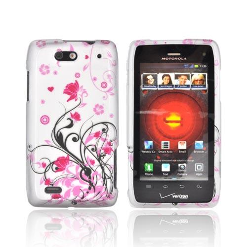 Motorola Droid 4 Rubberized Hard Case - Hot Pink Flowers & Black Vines on Silver