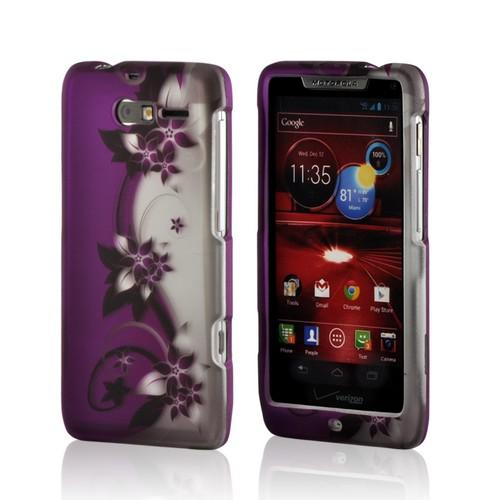 Purple Vines/ Flowers on Silver Rubberized Hard Case for Motorola Droid RAZR M