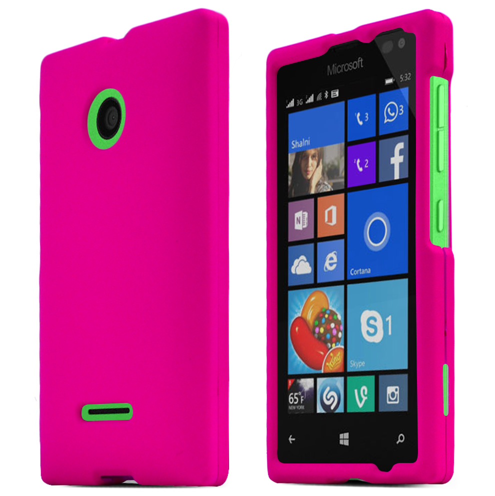 Nokia Lumia 435 Case, HOT PINK Slim & Protective Rubberized Matte Hard Polycarbonate Plastic Protective Case
