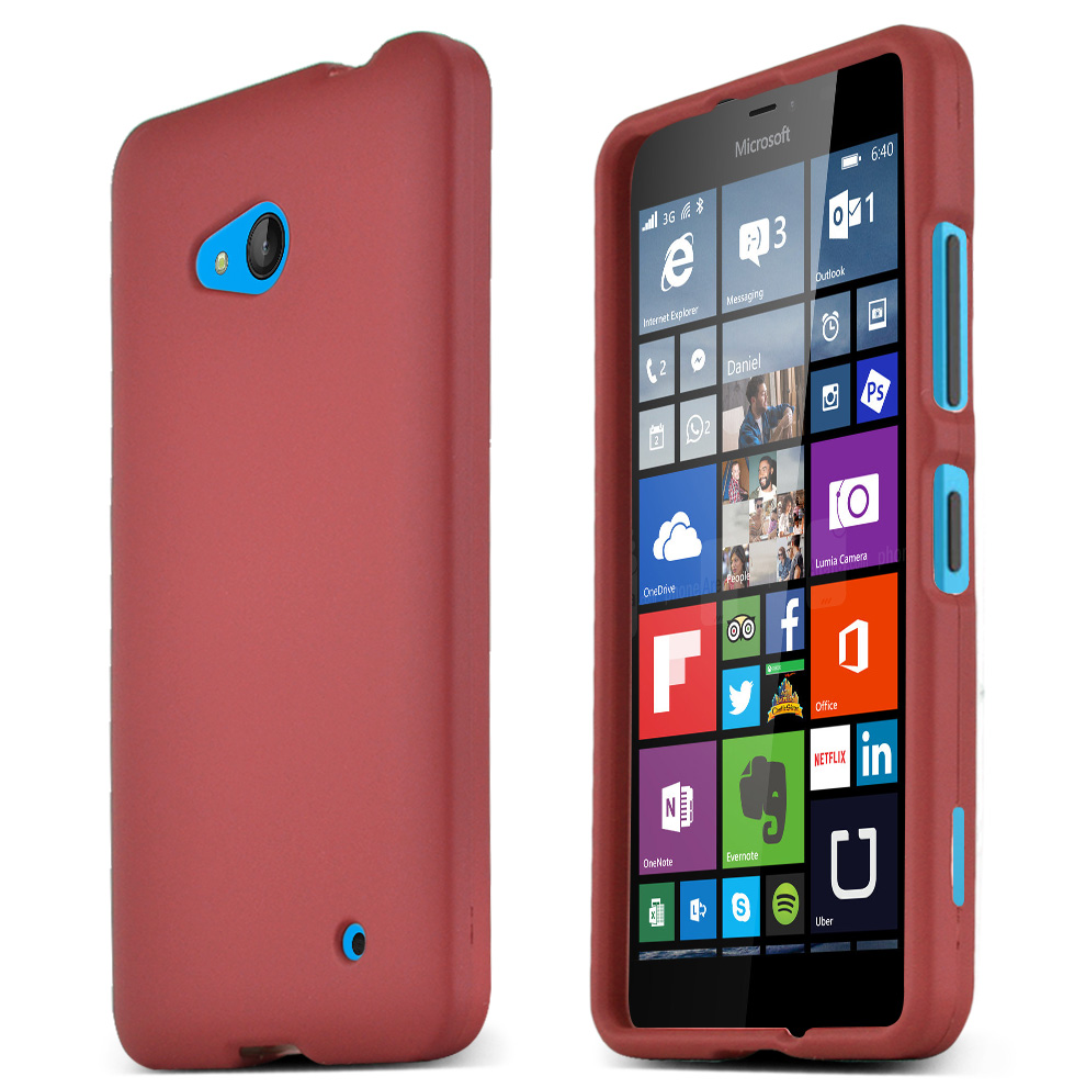 Red Slim Grip Rubberized Matte Snap-on Hard Polycarbonate Plastic Protective Case for Nokia Lumia 640