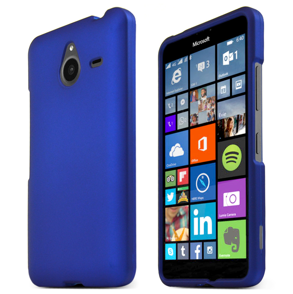 Nokia Lumia 640 XL Case, BLUE Slim & Protective Rubberized Matte Hard Plastic Case