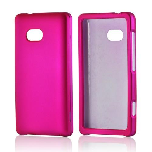 Hot Pink Rubberized Hard Case for Nokia Lumia 810