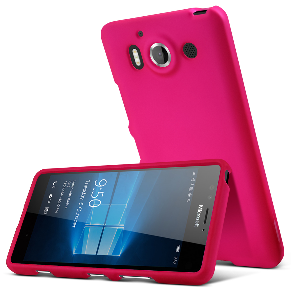 Microsoft Lumia 950 Case, [Hot Pink] Slim & Protective Rubberized Matte Hard Plastic Case