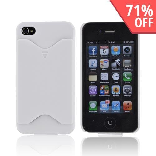 AT&T/ Verizon Apple iPhone 4, iPhone 4S Rubberized Back Cover w/ ID Slot - White - XXIP4