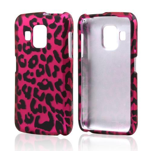 Hot Pink/ Black Leopard Rubberized Hard Case for Pantech Perception