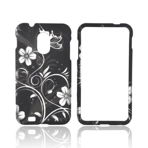 Samsung Epic 4G Touch Rubberized Hard Case - White Butterflies & Flowers on Black