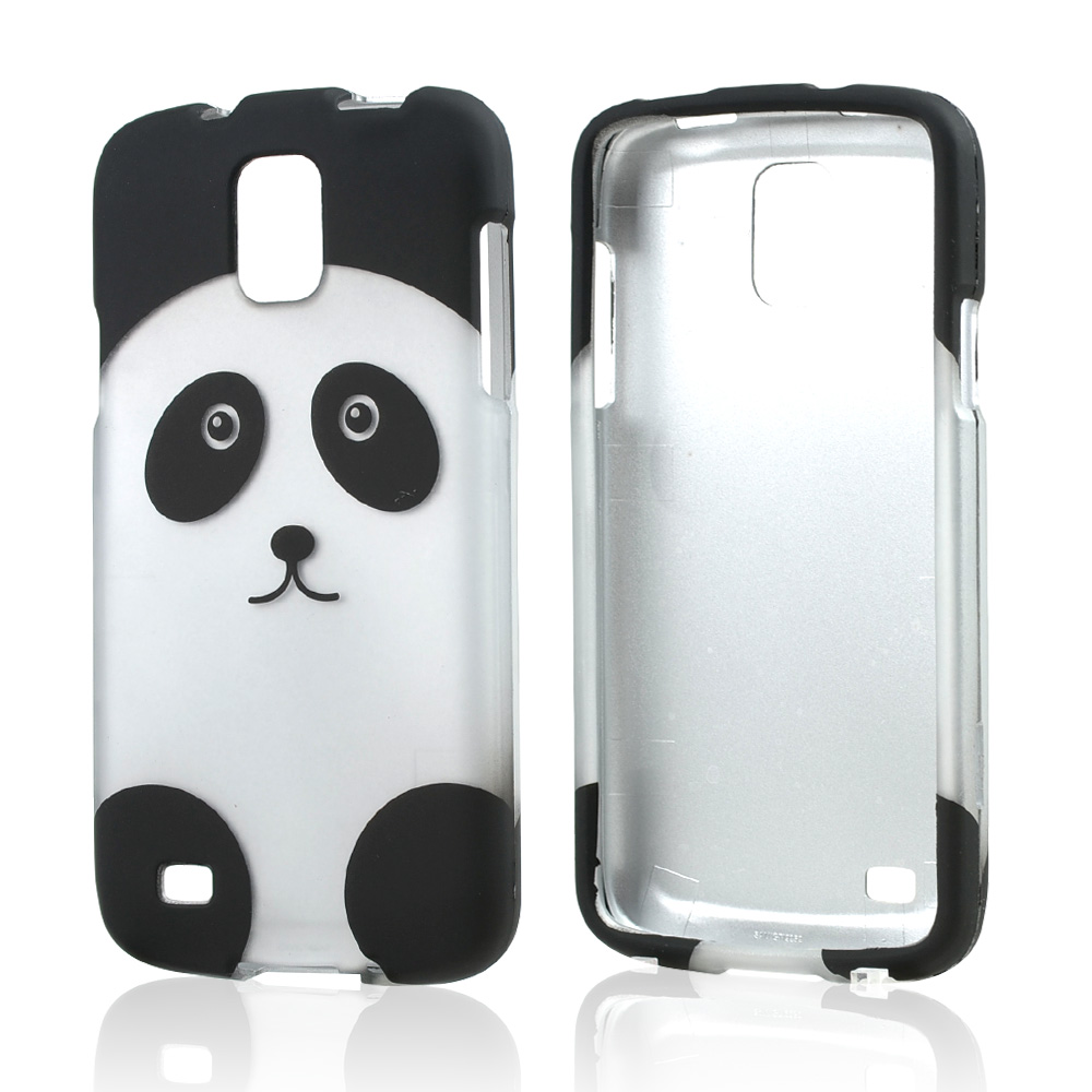 Silver/ Black Panda Bear Rubberized Hard Case for Samsung Galaxy S4 Active