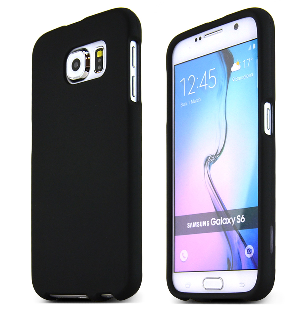 Samsung Galaxy S6 Case,  [Black]  Slim & Protective Rubberized Matte Finish Snap-on Hard Polycarbonate Plastic Case Cover