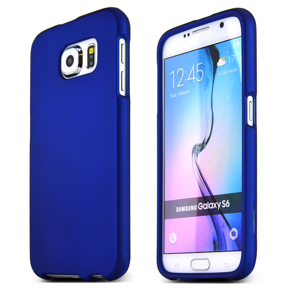 Samsung Galaxy S6 Case,  [Blue]  Slim & Protective Rubberized Matte Finish Snap-on Hard Polycarbonate Plastic Case Cover