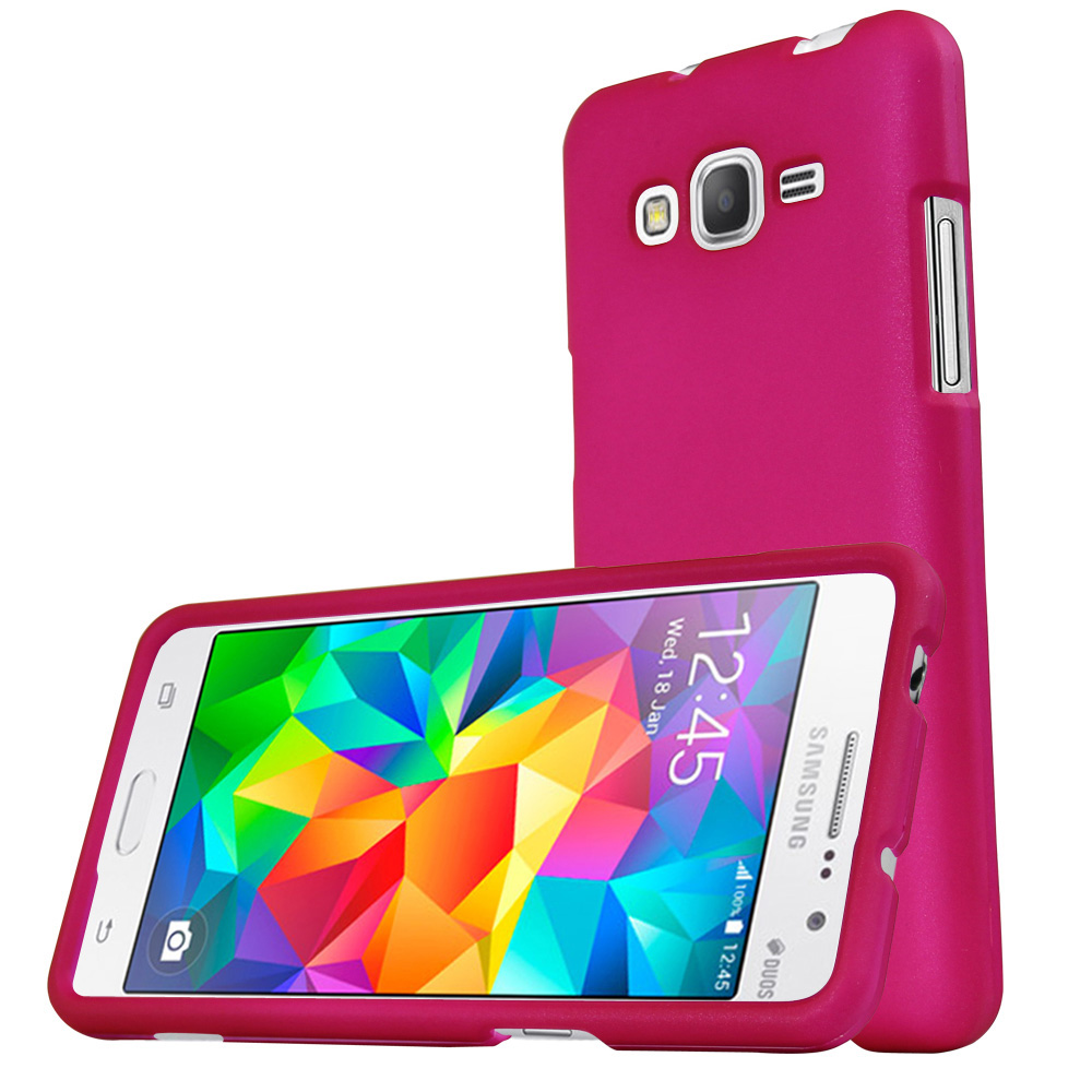 Samsung Galaxy Grand Prime Case, REDshield [Hot Pink] Slim & Protective Rubberized Matte Finish Snap-on Hard Polycarbonate Plastic Case Cover with Travel Wallet Phone Stand
