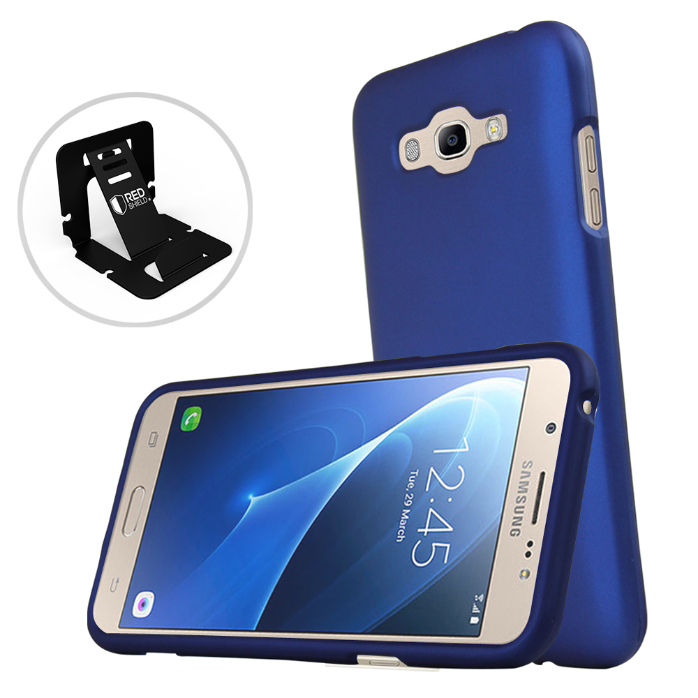Samsung Galaxy J7 (2015) Case, REDshield [Blue] Slim & Protective Rubberized Matte Finish Snap-on Hard Polycarbonate Plastic Case Cover with Travel Wallet Phone Stand