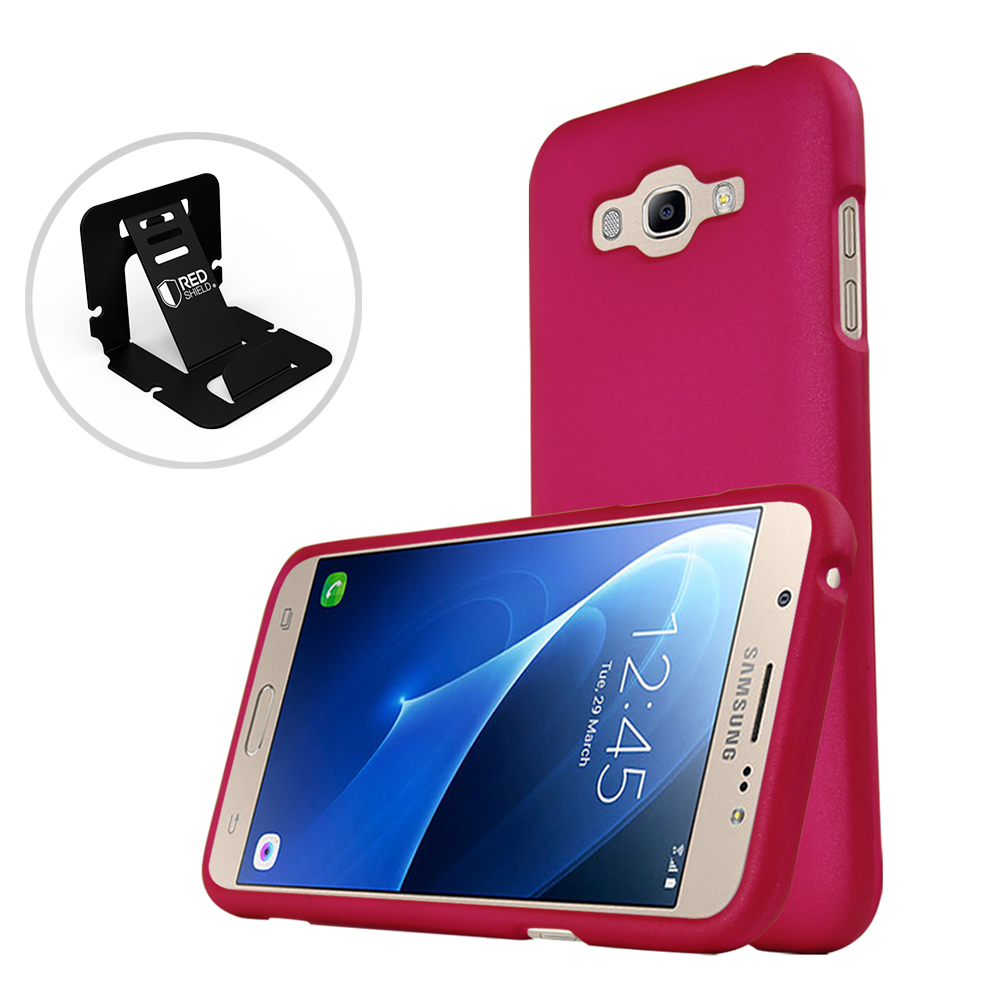 Samsung Galaxy J7 (2015) Case, REDshield [Hot Pink] Slim & Protective Rubberized Matte Finish Snap-on Hard Polycarbonate Plastic Case Cover with Travel Wallet Phone Stand
