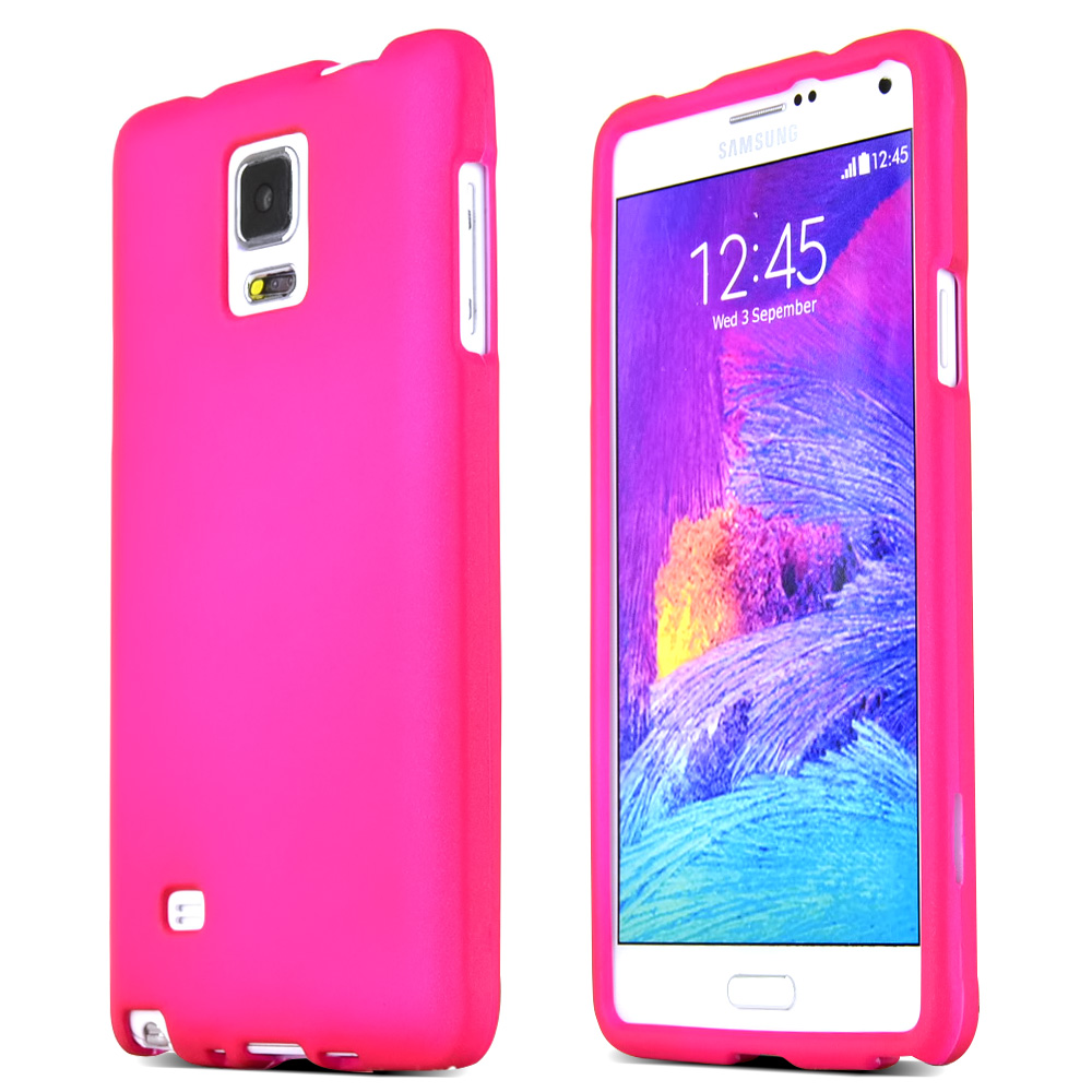 Samsung Galaxy Note 4 Case, [Hot Pink]  Slim & Protective Rubberized Matte Finish Snap-on Hard Polycarbonate Plastic Case Cover