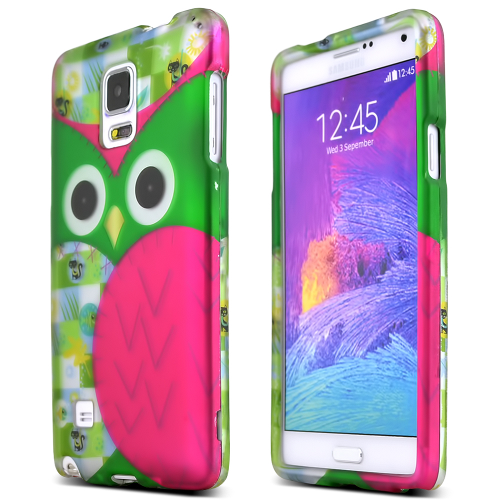Samsung Galaxy Note 4 Case, [Pink/Green Owl]  Slim & Protective Rubberized Matte Finish Snap-on Hard Polycarbonate Plastic Case Cover