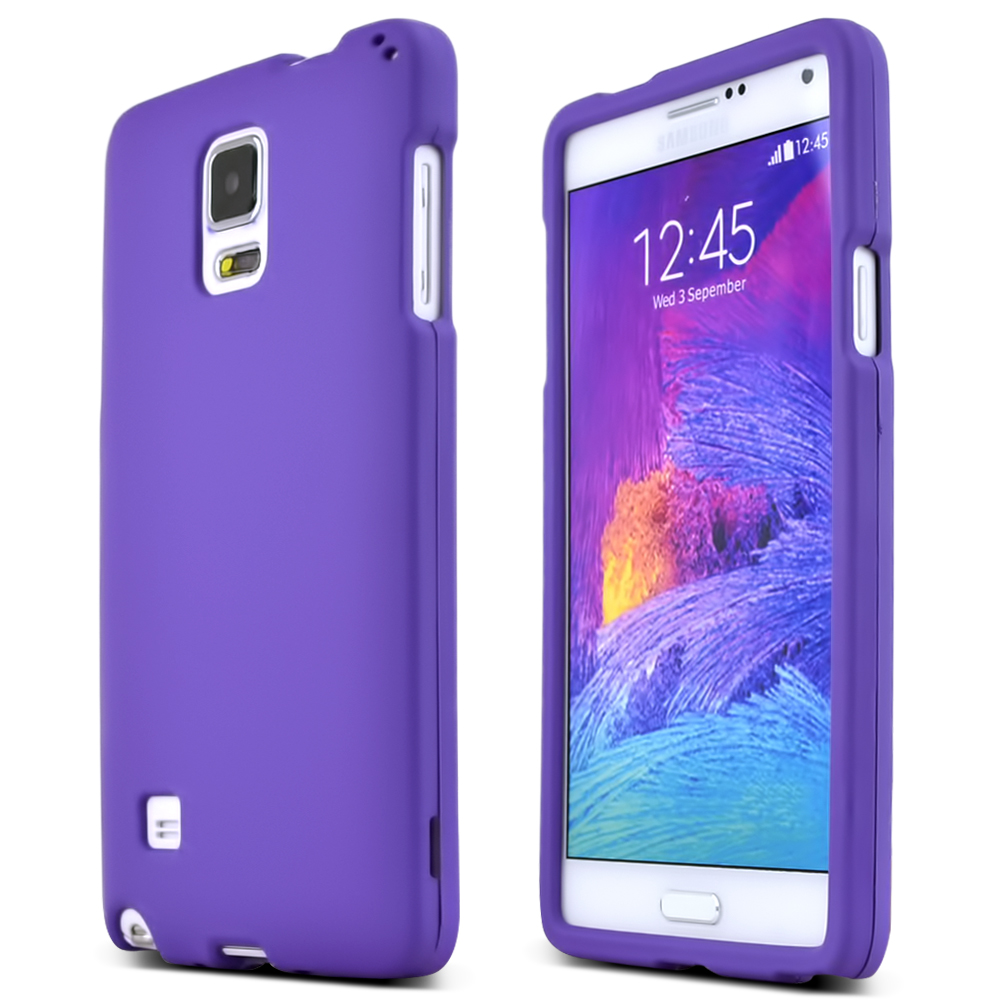 Samsung Galaxy Note 4 Case, [Purple]  Slim & Protective Rubberized Matte Finish Snap-on Hard Polycarbonate Plastic Case Cover