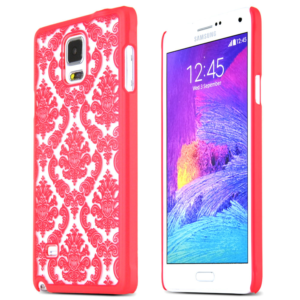 Samsung Galaxy Note 4 Protective Rubberized Hard Case - Anti-slip Matte Rubber Material [Fitting Samsung Galaxy Note 4 (2014) Case] [red Lace Design]