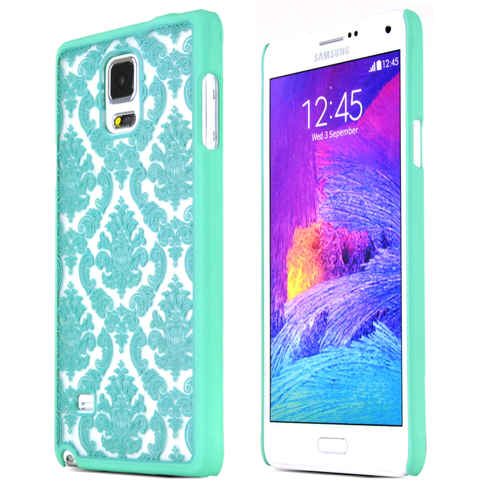 Samsung Galaxy Note 4 Case, [Mint Lace]  Slim & Protective Rubberized Matte Finish Snap-on Hard Polycarbonate Plastic Case Cover