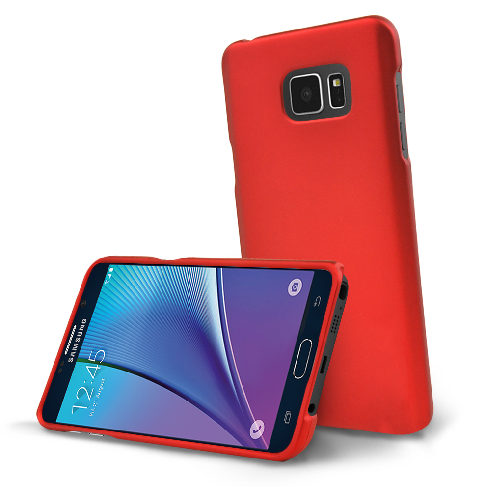 Samsung Galaxy Note 5, [Red]  Slim & Protective Rubberized Matte Finish Snap-on Hard Polycarbonate Plastic Case Cover