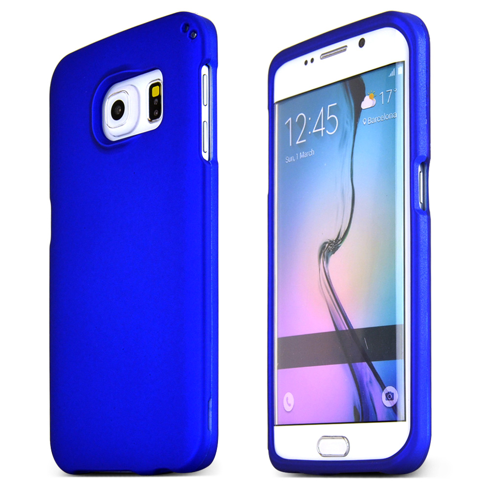 Samsung Galaxy S6 Edge Case,  [Blue]  Slim & Protective Rubberized Matte Finish Snap-on Hard Polycarbonate Plastic Case Cover