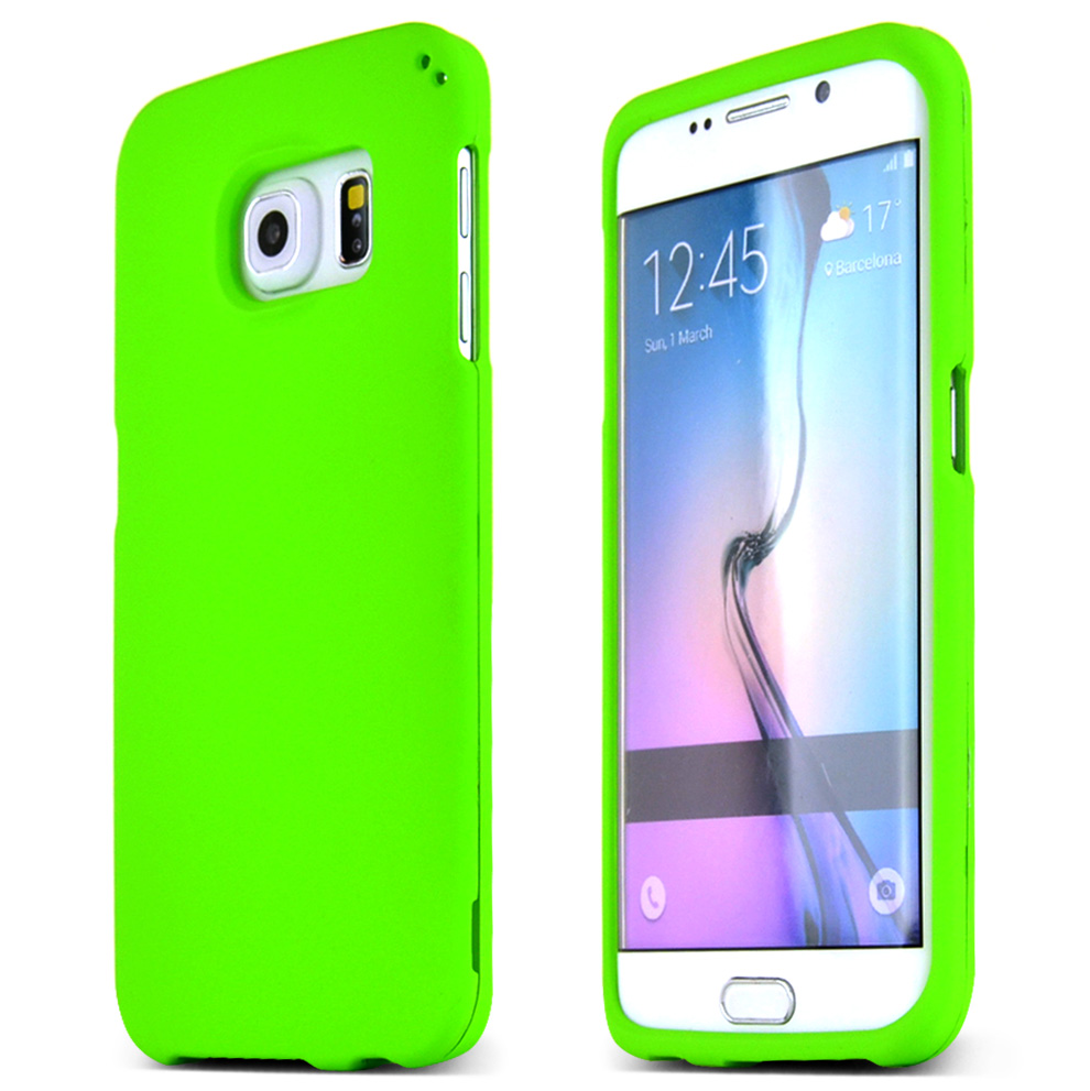 Samsung Galaxy S6 Edge Case,  [Neon Green]  Slim & Protective Rubberized Matte Finish Snap-on Hard Polycarbonate Plastic Case Cover