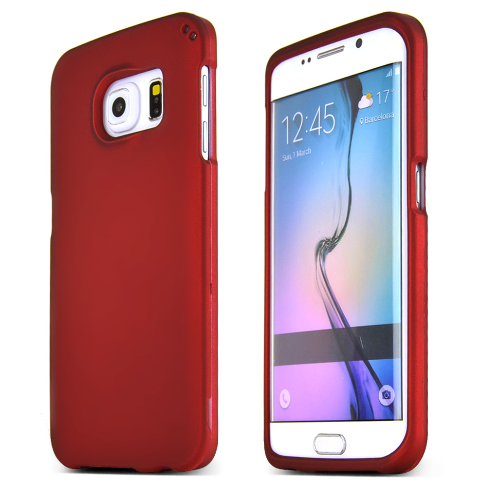 Samsung Galaxy S6 Edge Case,  [Red]  Slim & Protective Rubberized Matte Finish Snap-on Hard Polycarbonate Plastic Case Cover