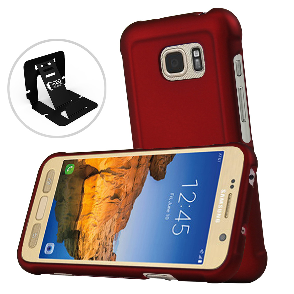 Samsung Galaxy S7 Active Case, REDshield [Red] Slim & Protective Rubberized Matte Finish Snap-on Hard Polycarbonate Plastic Case Cover with Travel Wallet Phone Stand