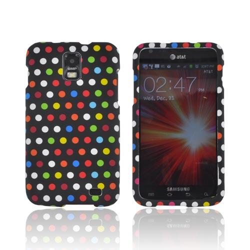 Samsung Galaxy S2 Skyrocket Rubberized Hard Case - Rainbow Polka Dots on Black