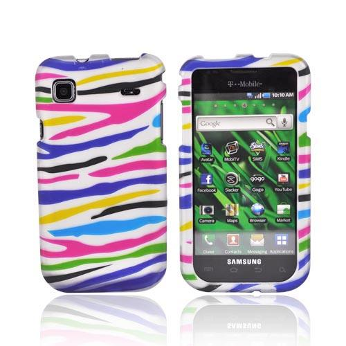 Samsung Vibrant/Galaxy S 4G Rubberized Hard Case - Colorful Zebra