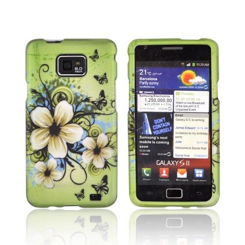 AT&T Samsung Galaxy S2 Rubberized Hard Case - Hawaiian Flowers on Green