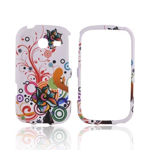 Samsung Freeform 3 Rubberized Hard Case - Rainbow Autumn Floral Design on White