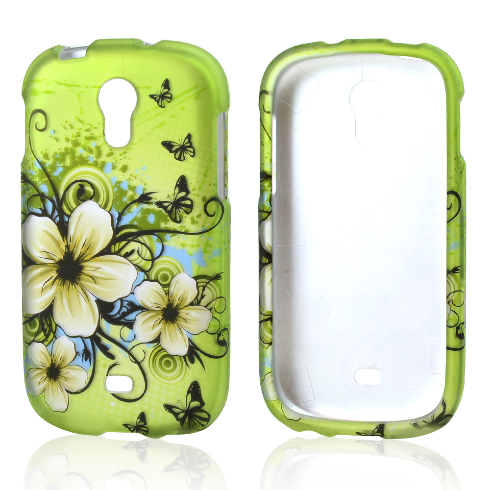 White Hawaiian Flowers on Green Rubberized Hard Case for Samsung Galaxy Light