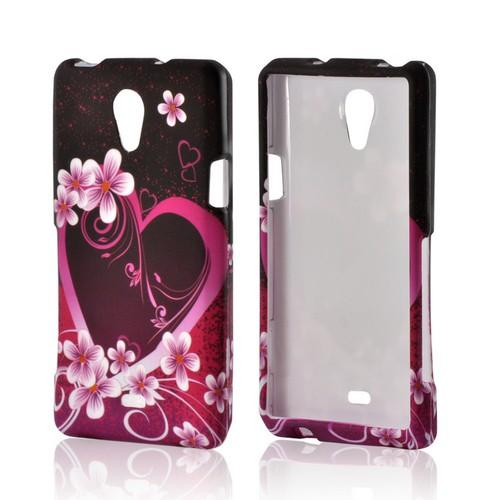Hot Pink/ Purple Flowers & Heart Rubberized Hard Case for Sony Xperia TL