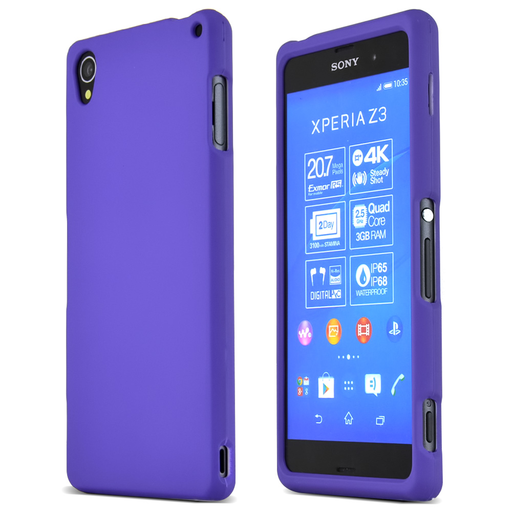 Sony Xperia Z3 Protective Rubberized Hard Case - Anti-Slip Matte Rubber Material [Slim and Perfect Fitting Sony Xperia Z3 (2014) Case] [Purple]