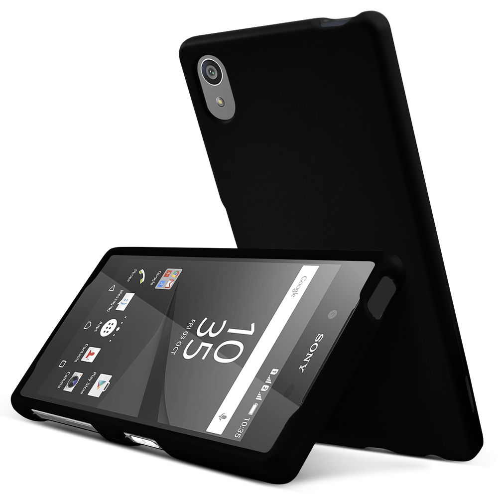 Sony Xperia Z5 Case,  [Black]  Slim & Protective Rubberized Matte Finish Snap-on Hard Polycarbonate Plastic Case Cover